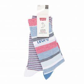 Lot de 2 paires de chaussettes white/blue/red t39 a 46 Homme LEVI'S marque pas cher prix dégriffés destockage