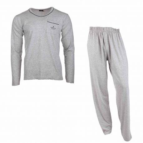 Ensemble confort pyjama haut manches longues col rond poche plaquée coton doux taille élastiquée Homme TORRENTE marque pas ch...