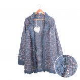 Gilet long manches longues tweed coton doux métallisé Femme CARE OF YOU