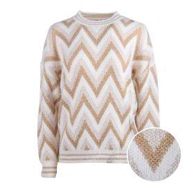 Pull manches longues laine métallisé rayé chevron Femme CARE OF YOU marque pas cher prix dégriffés destockage