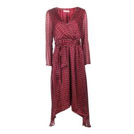 Robe mi-longue asymétrique manches longues légère imprimé Femme LA PETITE ETOILE marque pas cher prix dégriffés destockage