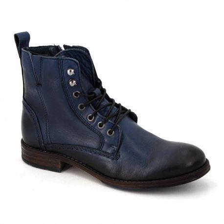 Bottine lacet cuir bleu t35-t41 gima Femme PIERRE CARDIN marque pas cher prix dégriffés destockage