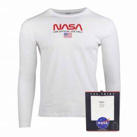 Tee shirt ml col rond worm flag Homme NASA marque pas cher prix dégriffés destockage