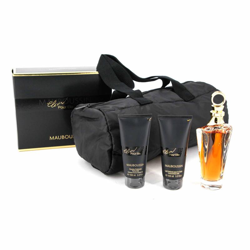 """Coffret Prestige """"ELIXIR POUR ELIXIR"""" 3 Pièces Eau de parfum 100ML + Gel douche + Lait Parfumé Femme MAUBOUSSIN marque pas ch..."""