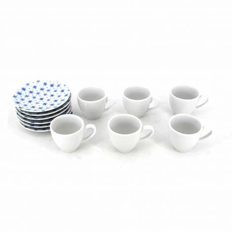 Set de 6 tasses à café + sous tasses bleu 10600034 GUZZINI marque pas cher prix dégriffés destockage