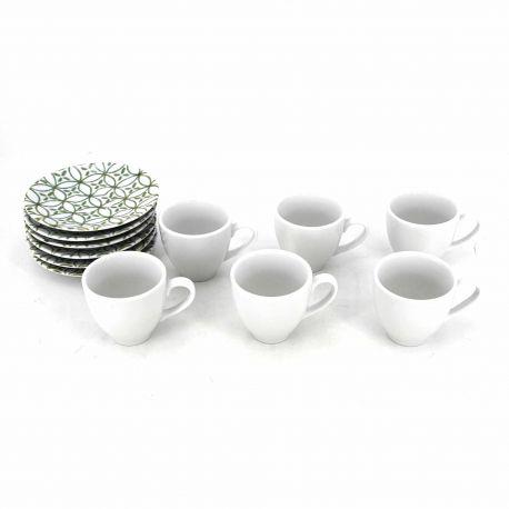 Set de 6 tasses à café + sous tasses vert 10600060 GUZZINI marque pas cher prix dégriffés destockage
