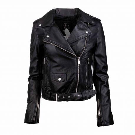 Blouson cuir diane dark navy Femme L.A.D.C. marque pas cher prix dégriffés destockage