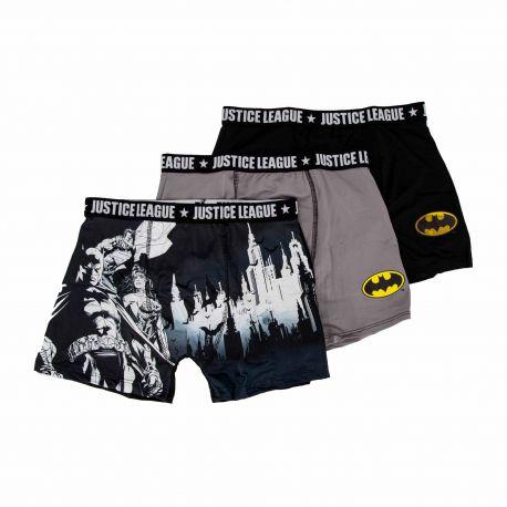 Lot de 3 boxers microfibres Homme JUSTICE LEAGUE marque pas cher prix dégriffés destockage