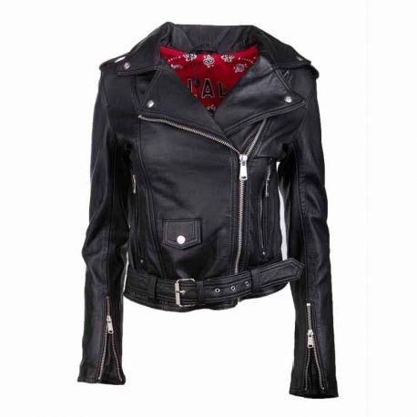 Blouson cuir diane print black Femme L.A.D.C. marque pas cher prix dégriffés destockage