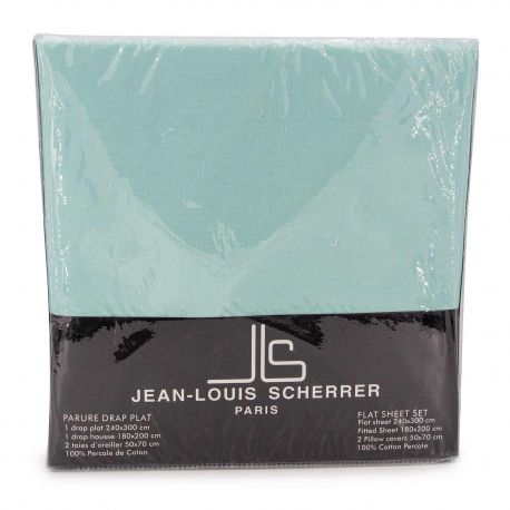 Parure percale: drat 240x300+drap housse 140x200+taie d'oreiller Mixte JEAN-LOUIS SCHERRER marque pas cher prix dégriffés des...