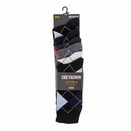 Chaussettes rayees lot de 6 ceylan Homme CHEVIGNON