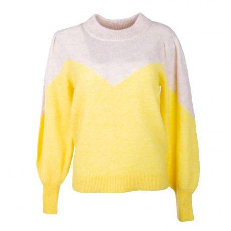 Pull manches longues bi-color jaune/beige star Femme SELECTED marque pas cher prix dégriffés destockage