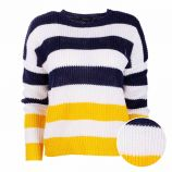 Pull col rond rayé manches longues Femme RALPH LAUREN