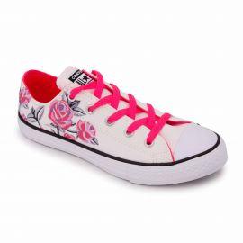 Basket toile basse blanche/rose/fleur 663624c Enfant CONVERSE marque pas cher prix dégriffés destockage