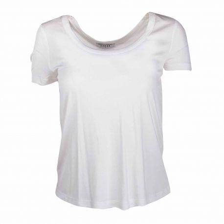 Tee shirt manches courtes col rond noir Femme PIECES marque pas cher prix dégriffés destockage