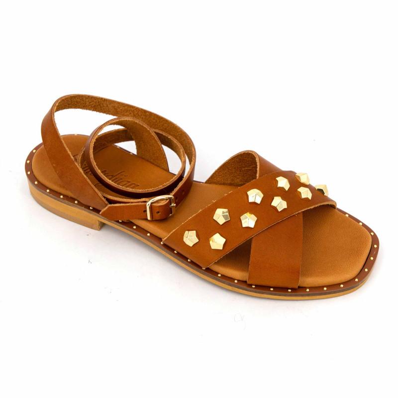 Sandale vacchetta cuoio giada t 36/41 Femme SEMERDJIAN