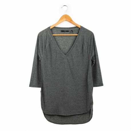 Tee shirt ml col v 10160395 Femme VERO MODA