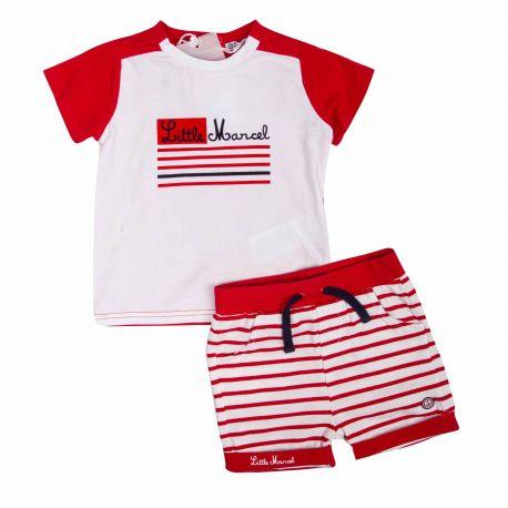 Ensemble t-shirt mc + short poches Enfant LITTLE MARCEL marque pas cher prix dégriffés destockage
