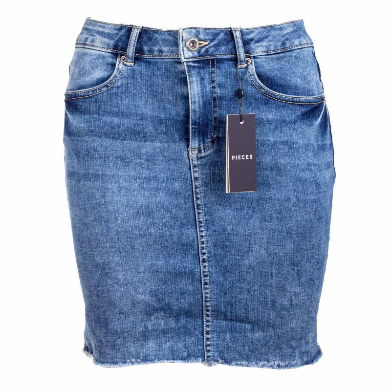 Jupe jeans bleu 17094854 Femme PIECES