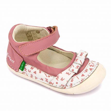 Babies rose sobret gris 61071-10 Enfant KICKERS marque pas cher prix dégriffés destockage
