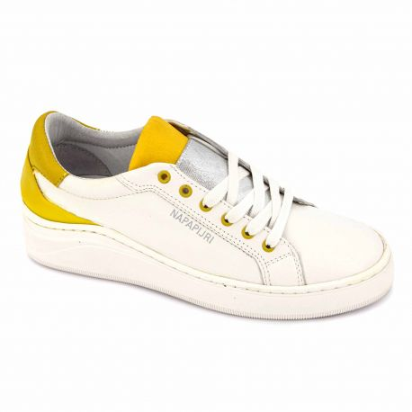 Baskets cuir white/yellow Femme NAPAPIJRI