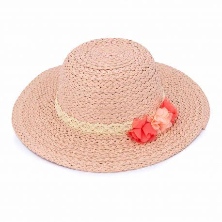 Chapeau paille capeline ruban dentelle tulle fleur Enfant EMERAUDE marque pas cher prix dégriffés destockage