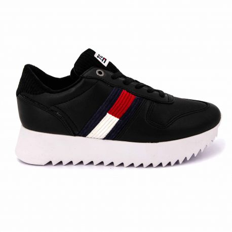 Sneakers black en0en00658 t36/42 Femme TOMMY HILFIGER marque pas cher prix dégriffés destockage