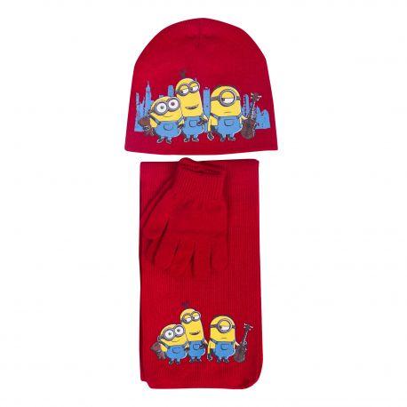 Ens. 3 pcs echarpe & gants & bonnet Enfant MINIONS marque pas cher prix dégriffés destockage