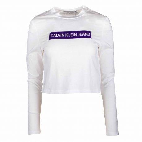 Tee shirt ml j20j208880 Femme CALVIN KLEIN marque pas cher prix dégriffés destockage