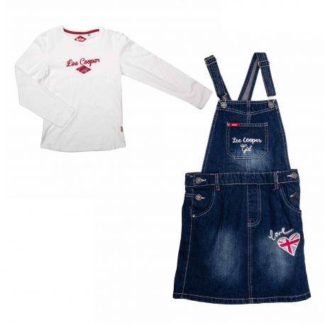 Ensemble tee-shirt ml + robe jeans lc11594 2ro Enfant LEE COOPER marque pas cher prix dégriffés destockage