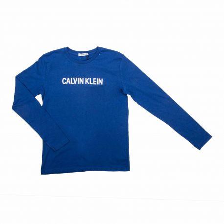 Tee shirt ml bleu Enfant CALVIN KLEIN marque pas cher prix dégriffés destockage