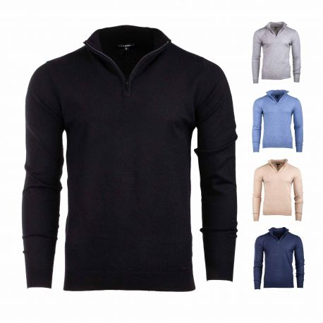 Pull pasco demi zip ml coudiere Homme TED LAPIDUS