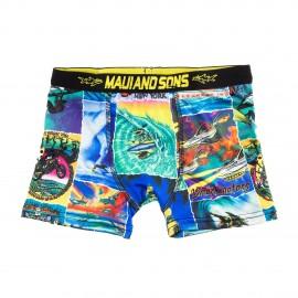 Boxer bleu et jaune garçon SHARKMAN Maui and Sons marque pas cher prix dégriffés destockage