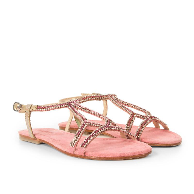 Sandales roses à strass femme JULIA Les Tropéziennes par M. Belarbi marque pas cher prix dégriffés destockage