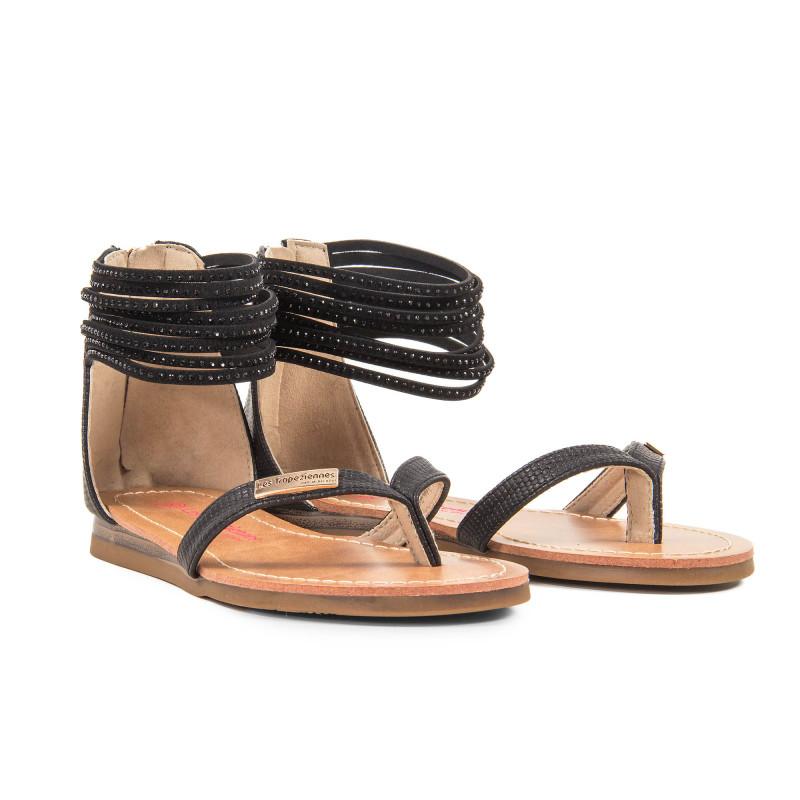 Sandales noires avec strass fille GINKGO Les Tropéziennes par M. Belarbi marque pas cher prix dégriffés destockage