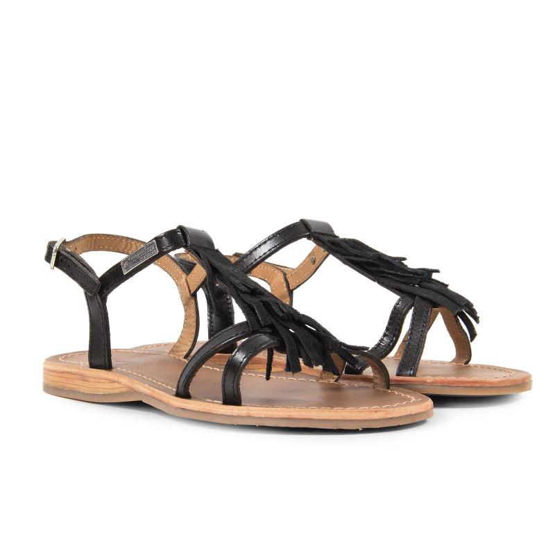 Sandales noires avec franges femme BELLA Les Tropéziennes par M. Belarbi marque pas cher prix dégriffés destockage