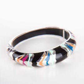 Bracelet jonc Tiger Laque en argent rhodié femme KENZO marque pas cher prix dégriffés destockage