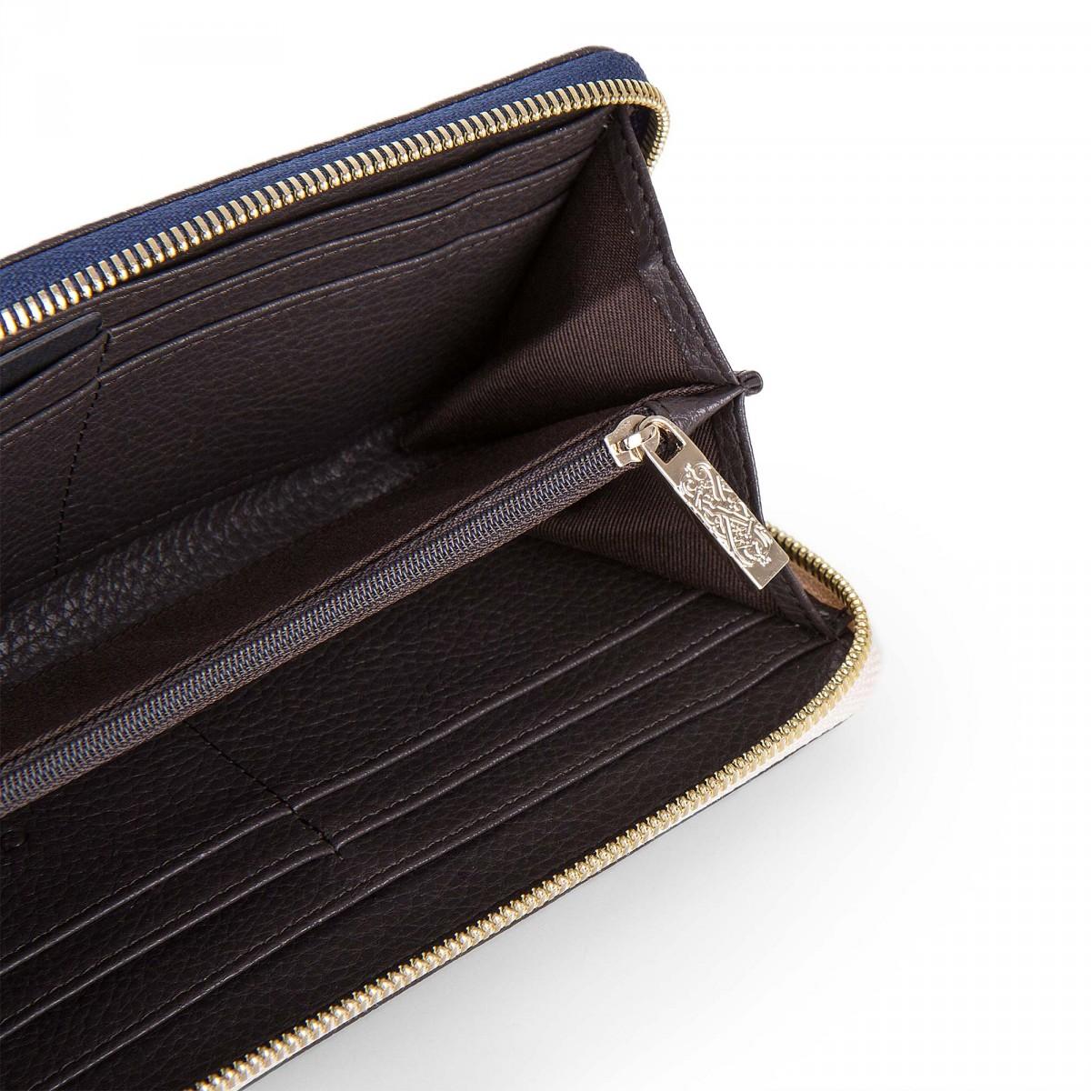 portefeuille simili cuir marron et bleu femme christian lacroix. Black Bedroom Furniture Sets. Home Design Ideas