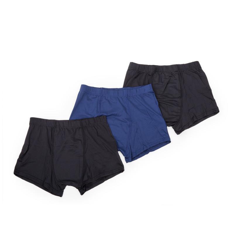 Lot de 3 boxers noir et bleu homme AZERTEX marque pas cher prix dégriffés destockage