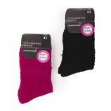 Lot de 2 paires de chaussettes fluffy blanches et marrons femme AZERTEX marque pas cher prix dégriffés destockage