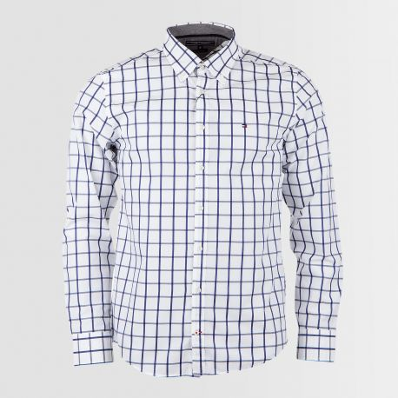 Chemise Manches Longues blanche à carreaux homme TOMMY HILFIGER marque pas cher prix dégriffés destockage