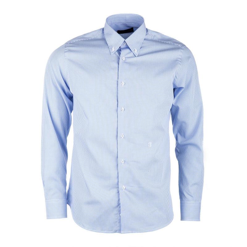 Chemise à carreaux bleus et blanc homme TRUSSARDI marque pas cher prix dégriffés destockage