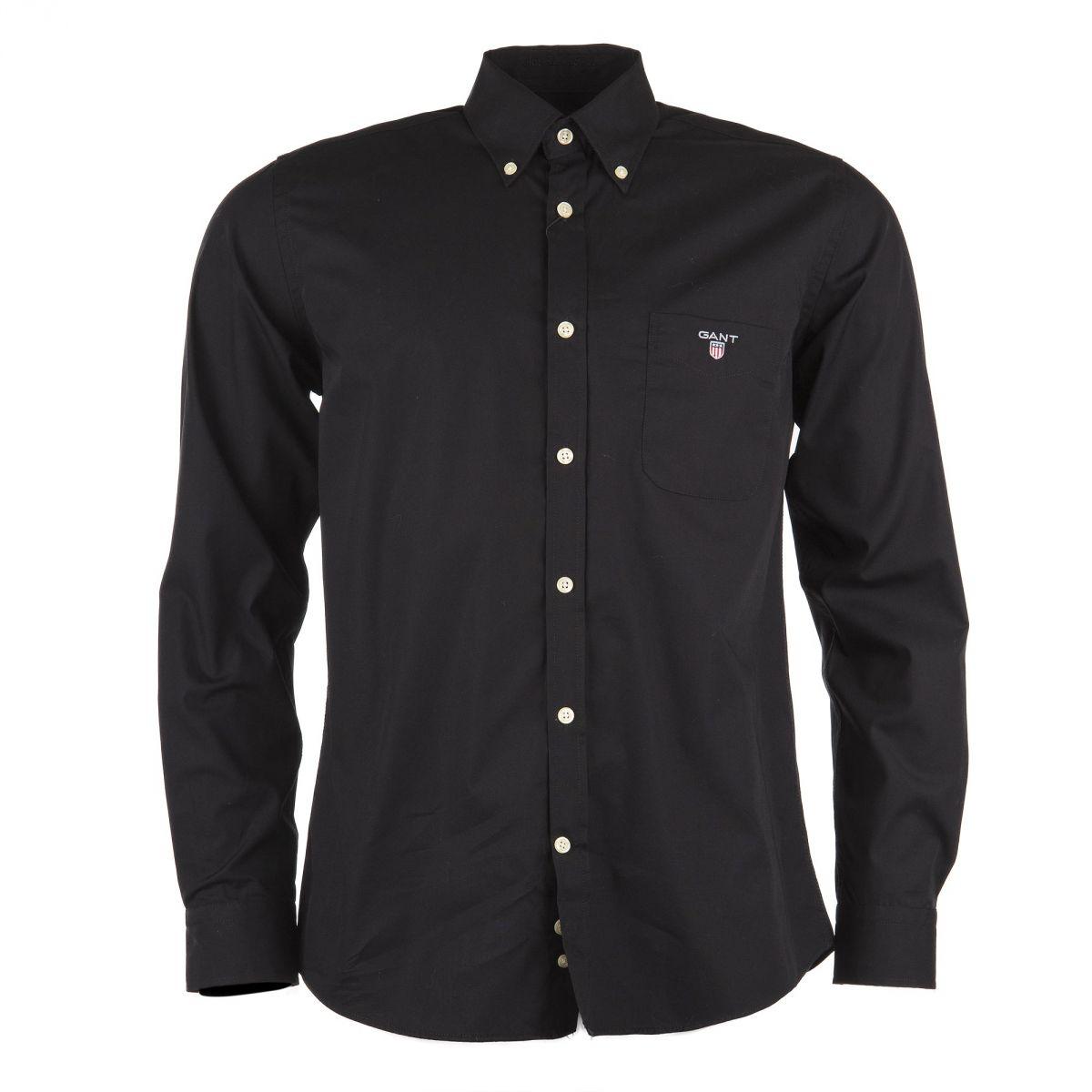 chemise noire homme gant prix d griff. Black Bedroom Furniture Sets. Home Design Ideas
