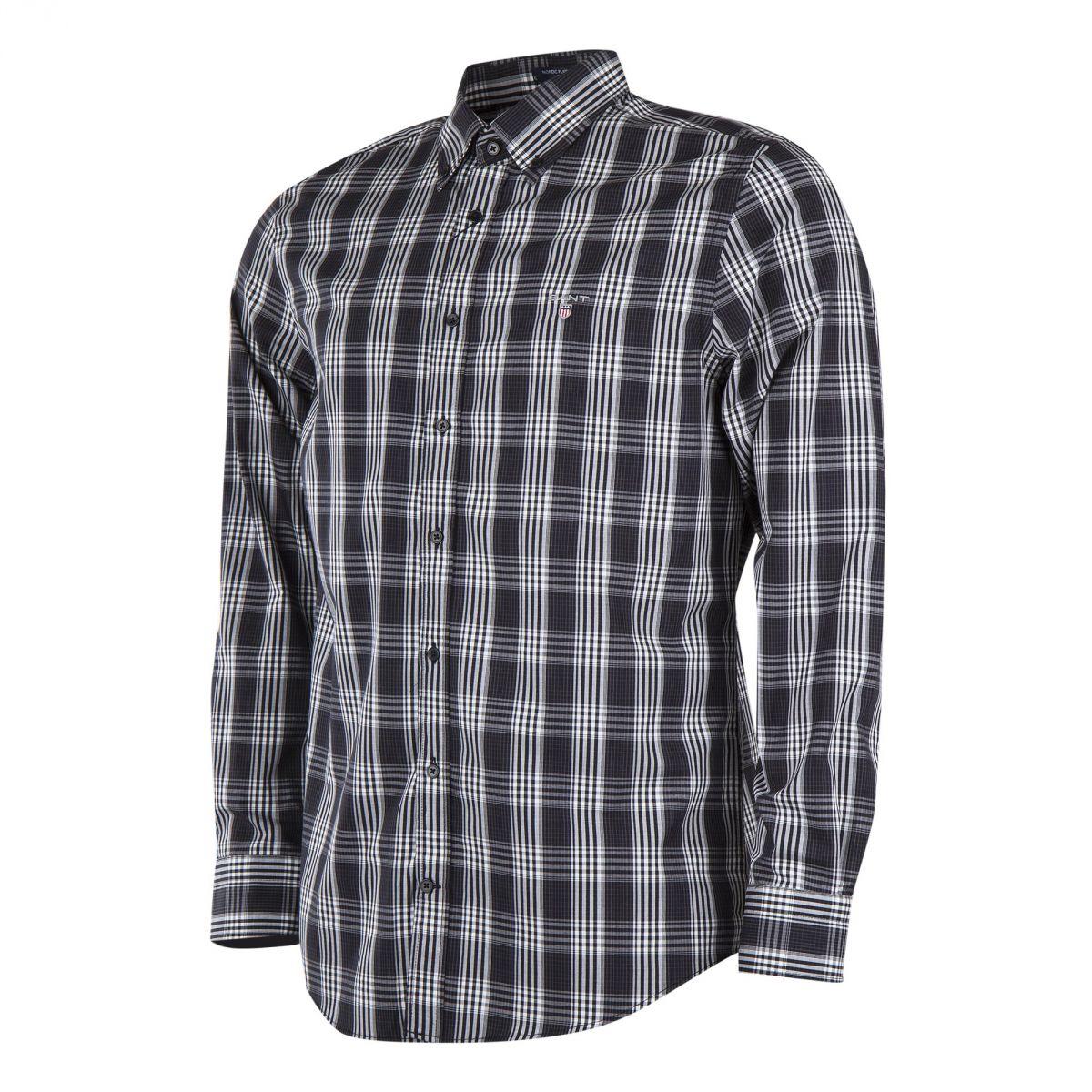 chemise carreaux noire et blanche homme gant prix d griff. Black Bedroom Furniture Sets. Home Design Ideas