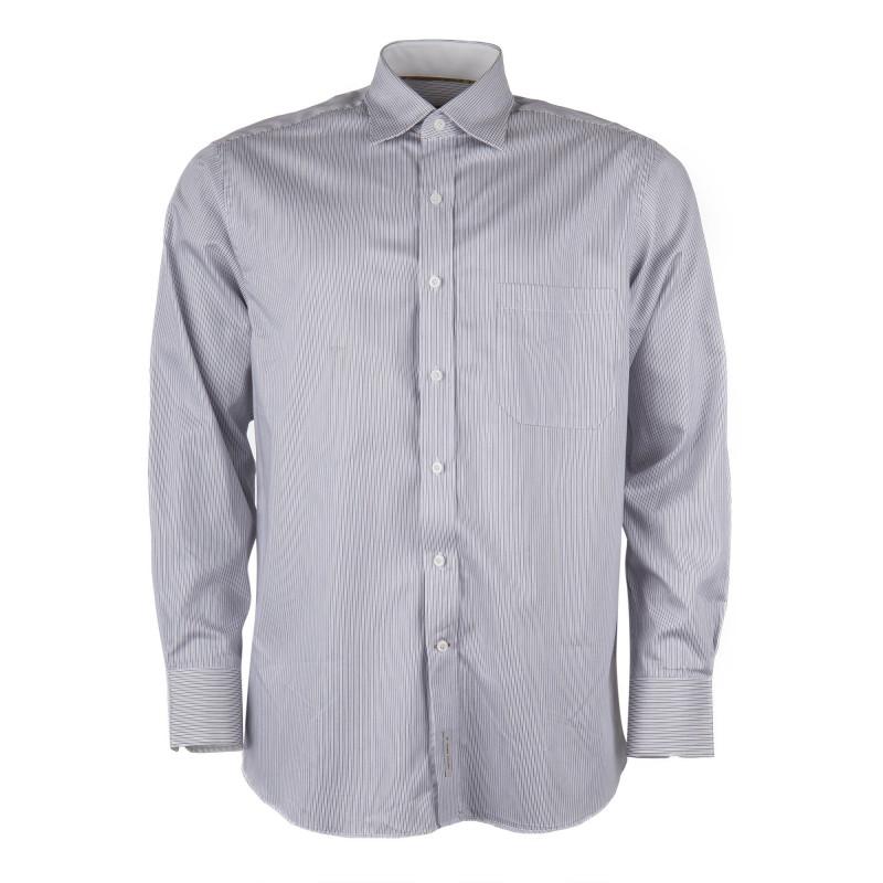 Chemise rayée blanche marron et bleue homme ZIGNONE marque pas cher prix dégriffés destockage
