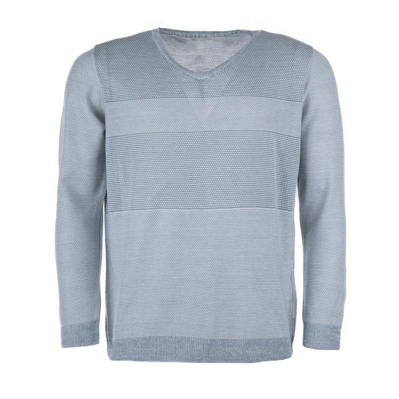Pull gris clair ligné homme BEST MOUNTAIN marque pas cher prix dégriffés destockage