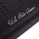 Porte-monnaie simili cuir noir ajouré femme US POLO marque pas cher prix dégriffés destockage