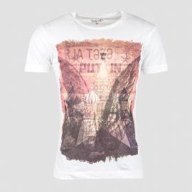 Tee-shirt blanc imprimé rouge homme DEEPEND marque pas cher prix dégriffés destockage