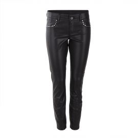 Pantalon slim simili cuir noir femme ON YOU