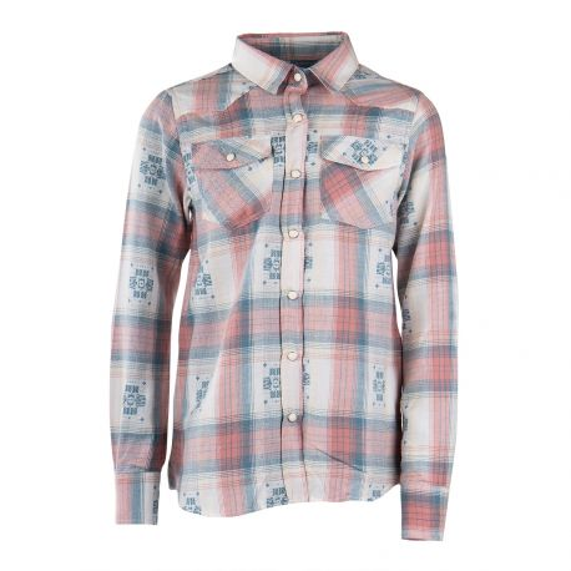 Chemise à carreaux roses et bleus motifs aztèques fille BEST MOUNTAIN marque pas cher prix dégriffés destockage